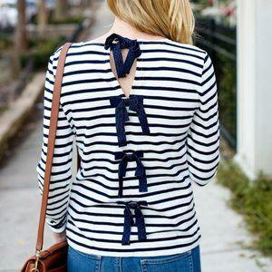 NWT J. Crew Striped T-shirt Bow-embellished Back